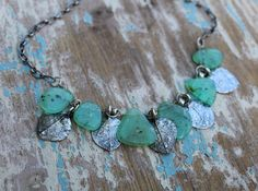 Sterling Silver Leaf Necklace, Artisan Necklace, Chrysoprase Necklace, Leaf Charm Necklace, Silver Leaf Necklace, Money Tree Necklace by woodsandwillow on Etsy Leaf Jewelry, Unique Jewelry, Money Trees, Tree Necklace, Turquoise Bracelet, Artisan, Sterling Silver, Bracelets, Handmade Gifts