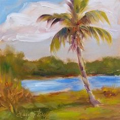 """Daily Paintworks - """"Lone Palm"""" by Laura Buxo"""