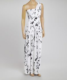Another great find on #zulily! White Swirl Asymmetrical Jumpsuit by Red Fox #zulilyfinds
