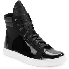 Kenneth Cole New York Double Header Hi-Top Sneakers (515 BRL) ❤ liked on Polyvore featuring men's fashion, men's shoes, men's sneakers, black, mens black high top shoes, mens black hi top sneakers, mens black leather high top sneakers, mens leather lace up shoes and mens leather shoes
