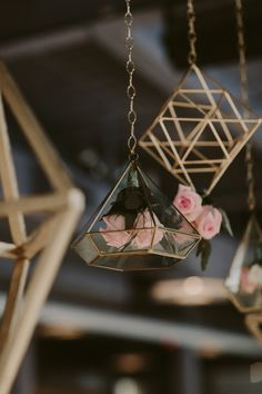 hanging flowers in geometric wedding decor