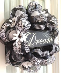 Image detail for -Elegant Black & White Deco Mesh Wreath by Southern Charm Wreaths.                                                                                                                                                      More