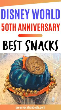 If you're planning a trip to Disney World for the 50th anniversary celebration, then I'm sure you're going to want to know about the food! There are a number of special food options offered just to celebrate the 50th birthday of Walt Disney World. Find out about the best snacks you can find in Magic Kingdom, Animal Kingdom, Hollywood Studios, Epcot & the Disney resort hotels. Includes unique cupcakes, Dole Whip, sundaes, cinnamon buns, cheesecakes, more. Advice for your Orlando Florida vacation. Disney Resort Hotels, Walt Disney World Vacations, Anniversary Food, Disney World With Toddlers, Disney World Planning, Disney World Tips And Tricks, Florida Vacation, Hollywood Studios, Snacks