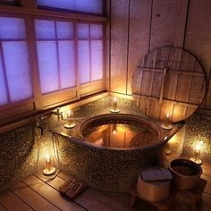 Japanese soaking tub... just like Mei's family's tub in Totoro!