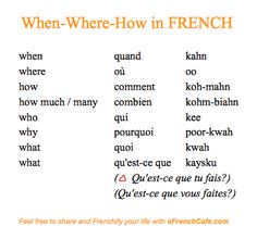 When, where, why in French
