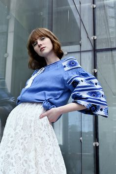 Linenblouse with Embroidery Ukraine, Ikat, Lace Skirt, Ballet Skirt, Embroidery, Skirts, Fashion, Casual Dressy, Model