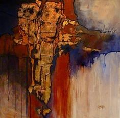 Geologic Abstract Mixed Media Painting New World by Colorado Artist Carol Nelson, painting by artist Carol Nelson