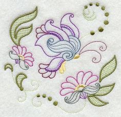 3 Pc Lot Butterfly BumbleBee Hummingbird Machine Embroidered Cotton Quilt Block