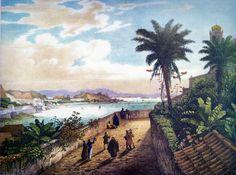 Rugendas: Vue de Rio de Janeiro, prise près de L'Eglise de Notre-Dame de la Gloire.