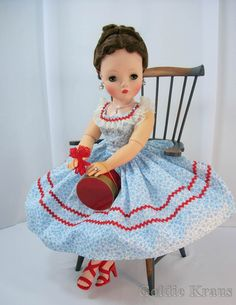 Cissy Doll in Original Outfit: Blue Cornflower Sundress with Rhinestone accents from 1957