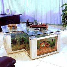 love this desk with built in fish tank via decorhardcore slightlysmudged - Fish Tank Designs My Home