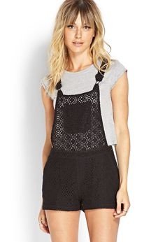 Lace Overall Shorts | FOREVER21 #F21Contemporary #Lace #F21Spring