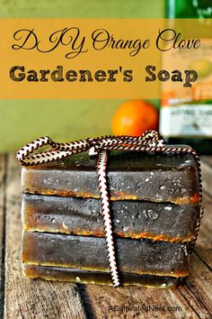 DIY orange olive oil gardener's soap | This is a heavenly scented bar soap for gardener's soil stained hands, but it's just as effective and wonderful for your mechanics work worn and grease slicked ones! The scents combine deliciously and leave your hands clean, lightly exfoliated, and moisturized.