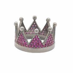 Δαχτυλίδι στέμμα μαύρο ασήμι 925 με φούξια ζιργκόν   tsaldaris.gr Crown, Rings, Decor, Corona, Decoration, Ring, Jewelry Rings, Decorating, Crowns