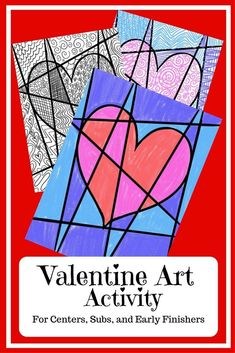 This is a fun valentine art activity for centers, subs, and early finishers. Students decorate a heart worksheet with patterns and color. Full directions are given both as a center activity and as a mini lesson. Arts And Crafts For Adults, Easy Arts And Crafts, Art Lessons For Kids, Art Lessons Elementary, Art Sub Plans, Middle School Art Projects, Teen Art, Kid Art, Arts And Crafts Furniture