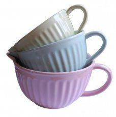 Pastel stacking jugs by gisela graham Gisela Graham, Mixing Bowls, Teacups, New Kitchen, Pastel, Mood, Ceramics, Dishes, Decorating