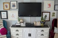 Create a gallery wall to decorate around your TV