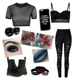 """""""Sarah Fizzy"""" by ciel-sm ❤ liked on Polyvore featuring Topshop, Dr. Martens, Casetify and New Look"""