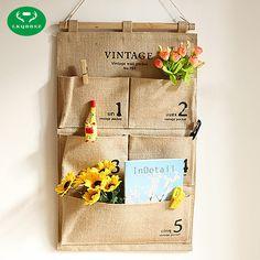 Door Hanging bags Organizer Jute Naturally Letters Wall Hanging Storage Bags organizer Cosmetic Sundries Storage Box