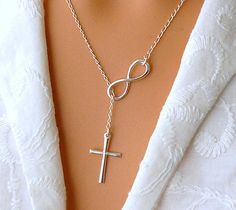 Infinity Cross Necklace - Sterling Silver Cross Infinity Lariat - Faith Forever on Etsy, $32.00