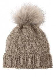 Bergère de France Beige Fur Pompom Hat Kit - With Needles Snood Scarf, Crochet Diy, Beige, Kit, Pom Pom Hat, Cool Hats, Knitted Hats, Knitting Patterns, Scarves