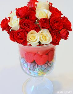 Valentine's Day DIY Centerpiece features candy hearts, Peeps and roses (Bright, Bold & Beautiful)
