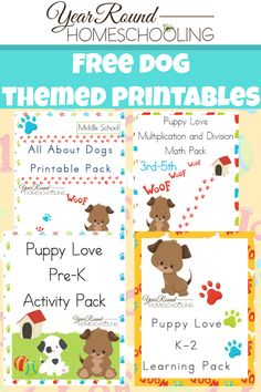 Free Dog Themed Printables for Pre-K through Middle School! Bonus FREE Middle School Dog Unit Study!