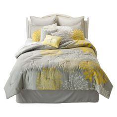 Anya 8 Piece Floral Print Bedding Set - Gray/Yellow TARGET