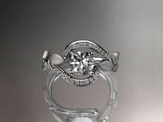 platinum diamond leaf and vine wedding ring,engagement ring ADLR64. $1,775.00, via Etsy.