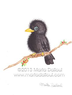 "Cute Baby Raven Original Watercolor Art 4.5"" x 6"" by 'MartaDalloul' $35.00 on ETSY<3<3FANTASTIC<3<3"