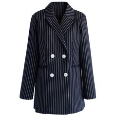 Chicwish Admire Stripe Double-Breasted Blazer (€55) ❤ liked on Polyvore featuring outerwear, jackets, blazers, blue, stripe jacket, blue double breasted jacket, double breasted blazer, stripe blazer and collar jacket