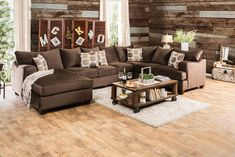 """3 pc Wessington collection chocolate fabric upholstered sectional sofa set with rounded square arms. Sectional features rounded square arms. Sectional measures 154"""" x 98"""" x 70"""" L chaise x 42"""" D x 44"""" H. Some assembly may be required."""