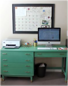Green desk - I love the flat drawers! Who needs deep drawers for paper and pencils?