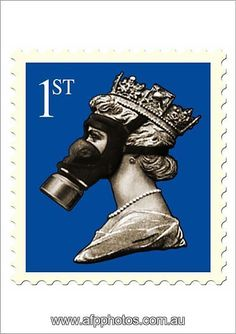 Former leader of the rock band KLF James Cauty has produced a poster mimicking a British stamp with Queen Elizabeth II Jigsaw Puzzle Pieces) Framed, Poster, Canvas Prints, Puzzles, Photo Gifts and Wall Art Fine Art Prints, Framed Prints, Canvas Prints, Gas Mask Art, Gas Masks, Square Photos, Effigy, Queen Elizabeth Ii, 500 Piece Puzzles