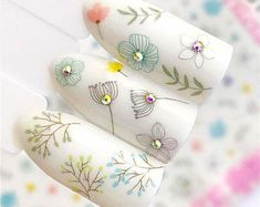Floral Nail Stickers - Nail Art Stickers - Decals on a sticky basis - Flowers Nail Decals - Nail Art Simple Nail Art Designs, Gel Nail Designs, Nail Art Stickers, Nail Decals, Nail Art Hacks, Gel Nail Art, Almond Nails Designs Summer, Japan Nail Art, Art Deco Nails