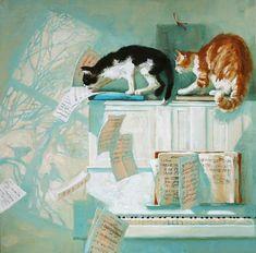 Maria Pavlova paintings - cats on piano