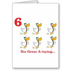 12 days of Christmas, six geese a-laying greeting card