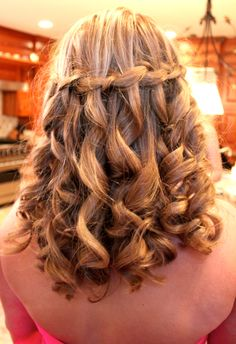 waterfall braid prom hair