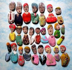 painted rock DIY crafts for kids. Little People painted rocks Pebble Painting, Pebble Art, Stone Painting, Rock Painting, Kids Crafts, Craft Projects, Craft Ideas, Rock Crafts, Arts And Crafts