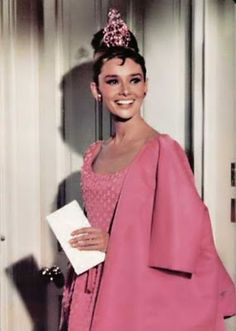 Audrey Hepburn in pink Givenchy. #BreakfastatTiffanys