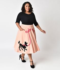 66eb8af1884 Unique Vintage Plus Size 1950s Peach Pink Soda Shop Poodle Swing Skirt  Poodle Skirt Costume