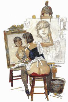 Jean-Pierre Gibrat, s'inspirant d'une illustration (autoportrait) de Norman Rockwell.