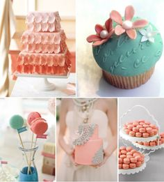 In love with these cupcakes and the tired cake with seafoam lace!