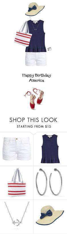 """Red, White & Blue: Celebrate the 4th!"" by amwmik ❤ liked on Polyvore featuring Frame, Diane Von Furstenberg, SailorBags, Jennifer Fisher, Bling Jewelry, WithChic, Miss Selfridge and fourthofjuly"
