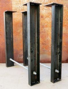 Artículos similares a Industrial Metal patas (juego de 2) canal + varilla roscada en Etsy