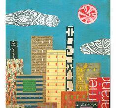 Abstract NYC Manhattan Cityscape ORIGINAL ART by ElizabethRosenArt
