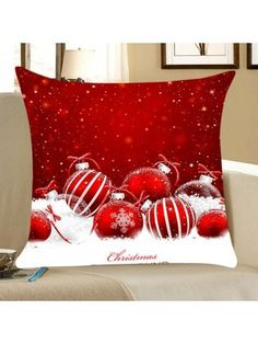 Christmas Snow Balls Print Square Throw Pillow Case - Red And White Inch * Inch Printed Square Christmas Cushions, Christmas Pillow, Christmas Bells, Christmas Snowman, Christmas Home, Christmas Crafts, Christmas Decorations, Christmas Stuff, Christmas Christmas