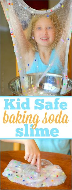 3 ingredient easy baking soda slime recipe without borax that's fun for your kids to make! Simple and safe to play with that you can make colorful too! AD via @thetypicalmom #bakingsoda #slime #easy