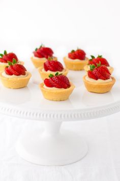 Strawberry tartlets with vanilla pastry cream - mini fruit tarts filled with vanilla pastry cream in a delicate cookie crust.