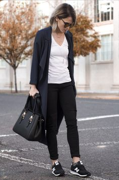 Navy + Black Coat | Jeans | New Balance Women's Fashion www.joandkemp.com